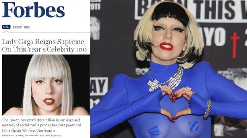"""Lady Gaga destronó a Oprah como el famoso más poderoso, según """"Forbes"""""""