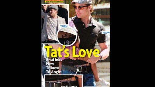 Brad Pitt tatuó la firma de Angelina Jolie en su vientre