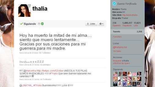 """Thalía destrozada: """"Hoy ha muerto la mitad de mi alma"""""""