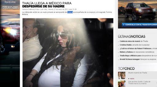 Thalía llegó a México para el funeral de su madre
