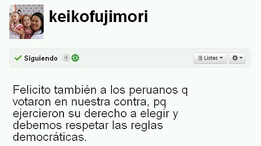 """Keiko Fujimori en Twitter: """"Felicito a los que votaron en mi contra"""""""