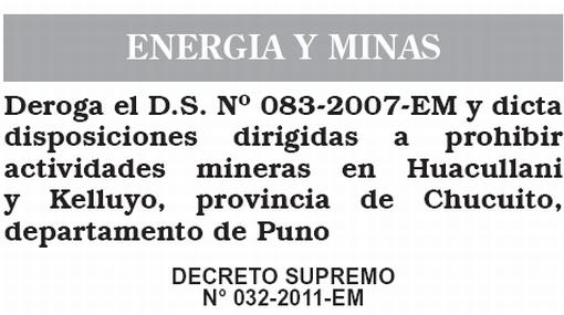 Violencia en Puno: publican decreto supremo que prohíbe minería en dos localidades