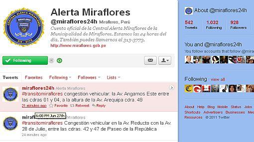 Miraflores recurre a Twitter para reforzar la seguridad ciudadana