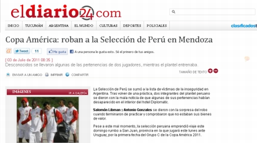 Selección peruana habría sufrido el robo de pertenencias en Mendoza