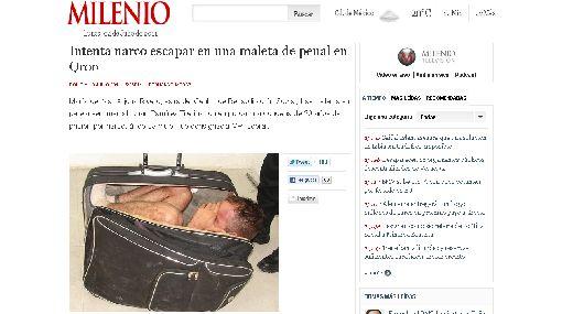 México: preso por narcotráfico intentó huir de penal en una maleta