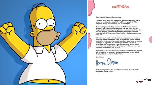 Lee la carta que Homero Simpson envió a los Duques de Cambridge