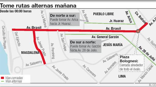 GRÁFICO: rutas alternas a la Av. Brasil por el desfile militar de hoy