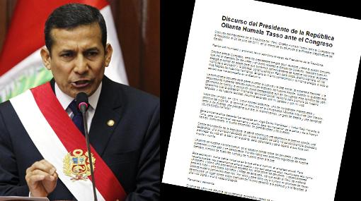 Descarga el mensaje presidencial de Ollanta Humala en tres formatos