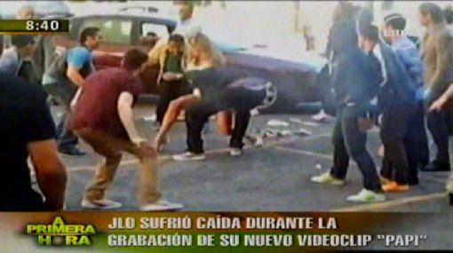 Jennifer López sufrió aparatosa caída cuando grababa nuevo video