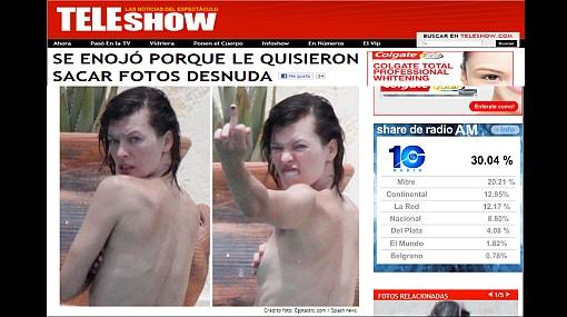 Milla Jovovich hizo gesto obsceno porque la quisieron fotografiar en topless