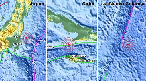 Japón, Cuba y Nueva Zelanda sufrieron fuertes sismos en menos de una hora