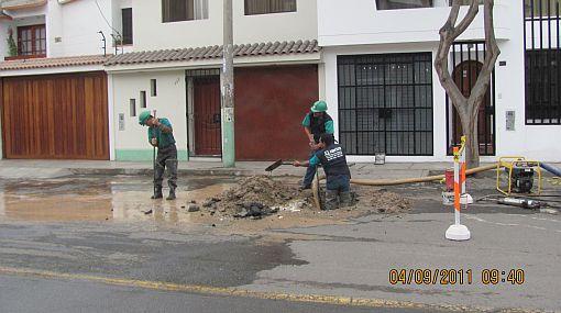 Sedapal dejó inconclusa la reparacion de tuberías en Surco