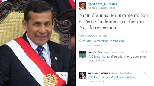 Humala aclaró que no intentará reelegirse como presidente