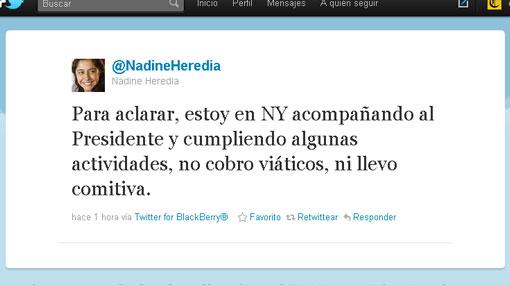 "Nadine Heredia: ""No cobro viáticos ni llevo comitiva"""