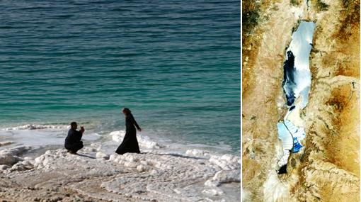El Mar Muerto se seca por un lado, pero se desborda por el otro