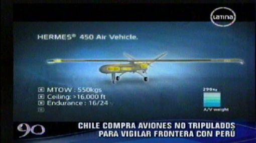 Chile adquirió aviones no tripulados para vigilar frontera con Perú