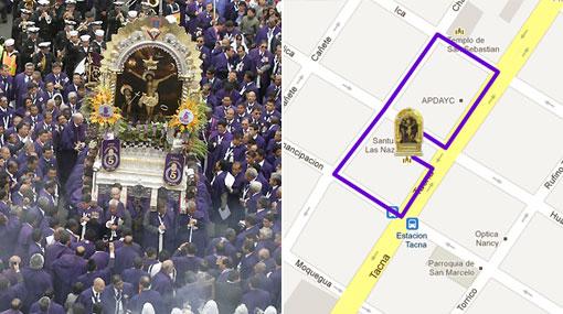 Conoce la ruta del último recorrido del Señor de los Milagros en Lima