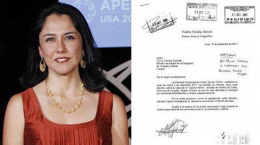 Carta de Nadine Heredia a ministro de Energía y Minas genera reacciones a favor y en contra