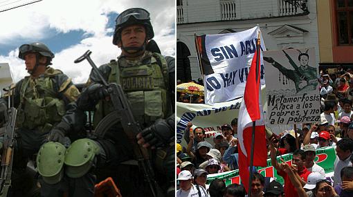 Protestas antimineras en Cajamarca dejan 10 policías heridos