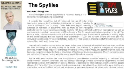 Wikileaks publicó 287 archivos sobre empresas dedicadas al espionaje