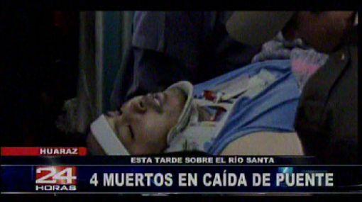 Áncash: cuatro obreros mueren al caerse puente sobre el río Santa