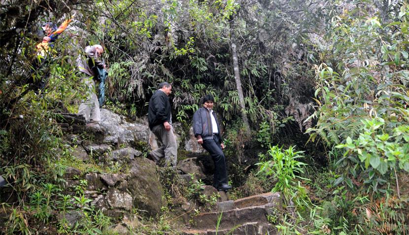 FOTOS: así fue el ascenso de Evo Morales al Huayna Picchu