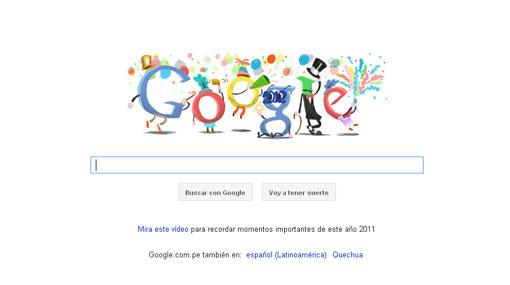 Google recibe el 2012 con un colorido 'doodle'