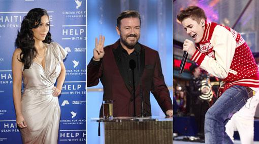 Globos de Oro: Ricky Gervais se burló de Justin Bieber y Kim Kardashian