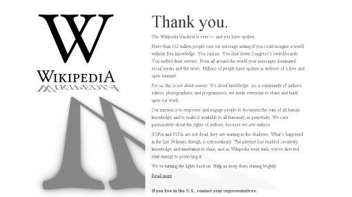 """Wikipedia advierte: """"Las iniciativas SOPA y PIPA no han muerto"""""""