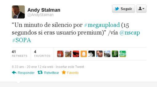 """Tuiteros del mundo: """"Un minuto de silencio por Megaupload, 15 segundos si eras cliente premium"""""""