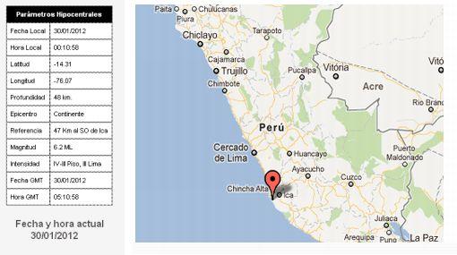 Sismo de 6,2 grados en Ica remeció Lima y el sur del país
