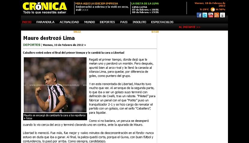 Así informa la prensa paraguaya sobre la caída de Alianza ante Libertad