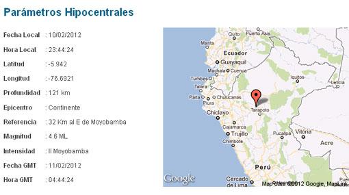 Otro sismo: ahora Moyobamba fue sacudida por temblor de 4,6 grados