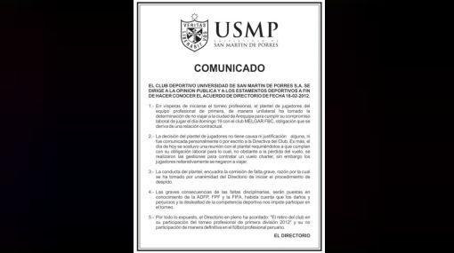 Este es el comunicado oficial con el que San Martín renuncia al fútbol