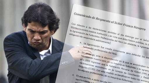 Agremiación de Futbolistas responde y emplaza a Franco Navarro