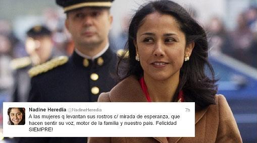 Nadine Heredia saludó en Twitter a las peruanas en su día