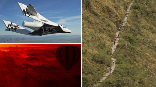 Un viaje espacial y el Camino Inca, lo mejor para hacer en esta vida