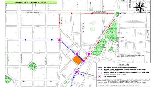 PLAN DE DESVÍO: la calle José Gálvez en Miraflores fue cerrada hoy