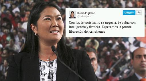 """Keiko Fujimori afirmó que no se negocia con terroristas: """"Hay que actuar con inteligencia"""""""