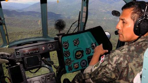 Ollanta Humala estuvo en zona de búsqueda de rehenes antes de viajar a Colombia