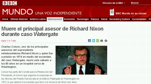EE.UU.: murió asesor de Nixon acusado de espionaje por Watergate