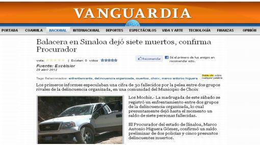 México: balacera entre bandas de narcotraficantes dejó siete muertos