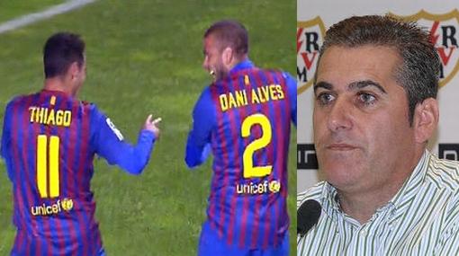 """DT del Rayo: """"¿Por qué Alves y Thiago no bailaron cuando Torres marcó en el Camp Nou?"""""""