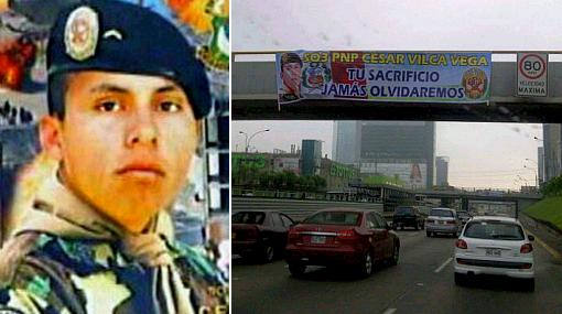 Heroísmo de César Vilca es reconocido con banderolas en la Vía Expresa