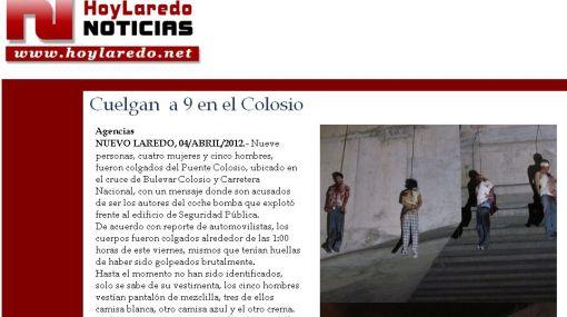Hallan nueve cadáveres colgados de un puente en el noreste de México