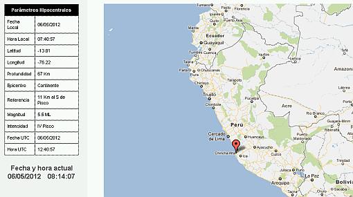 Sismo de 5,5 grados remeció Ica y se sintió en Lima esta mañana
