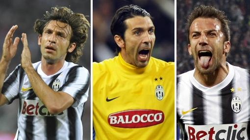Pirlo, Buffon y Del Piero: los baluartes del título de la Juve