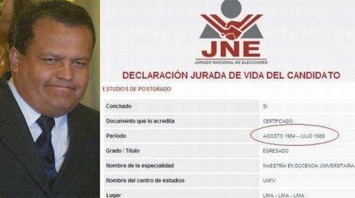 Ministro Urquizo declaró al JNE que estudió maestría a los 17 años