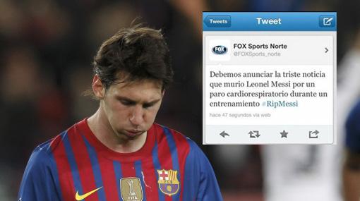 Cadena deportiva anunció por error la muerte de Lionel Messi