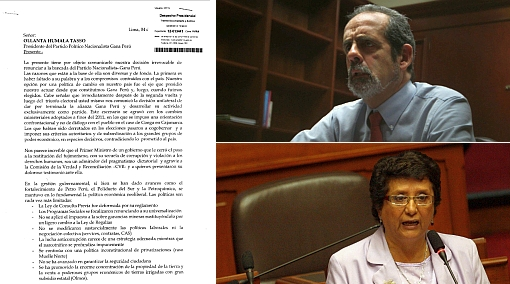 Lee la dura carta de renuncia de Javier Diez Canseco y Rosa Mavila